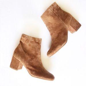 HALOGEN • chestnut suede block heel Cori bootie 9M